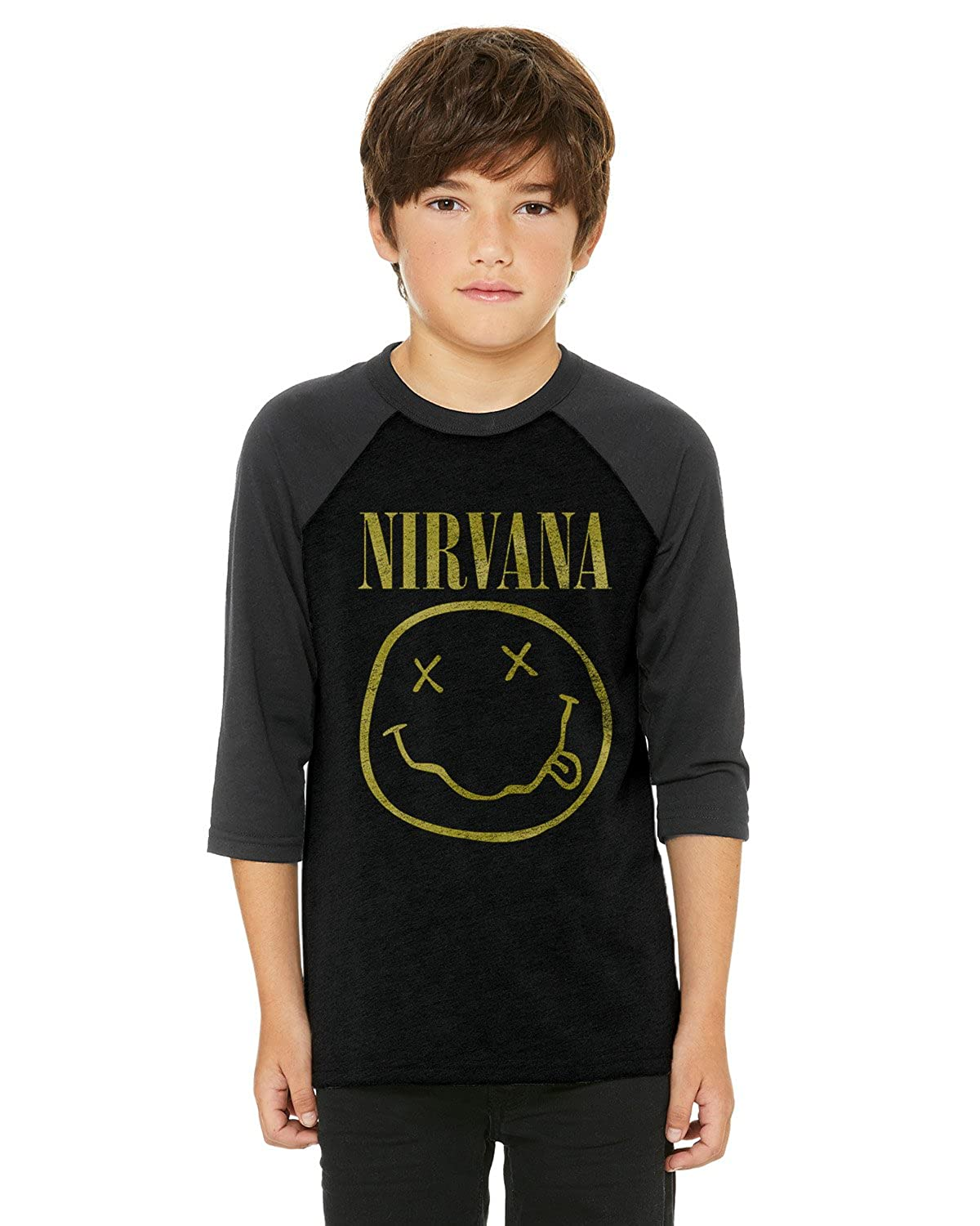 Nirvana Distressed Smile Youth Raglan Shirt