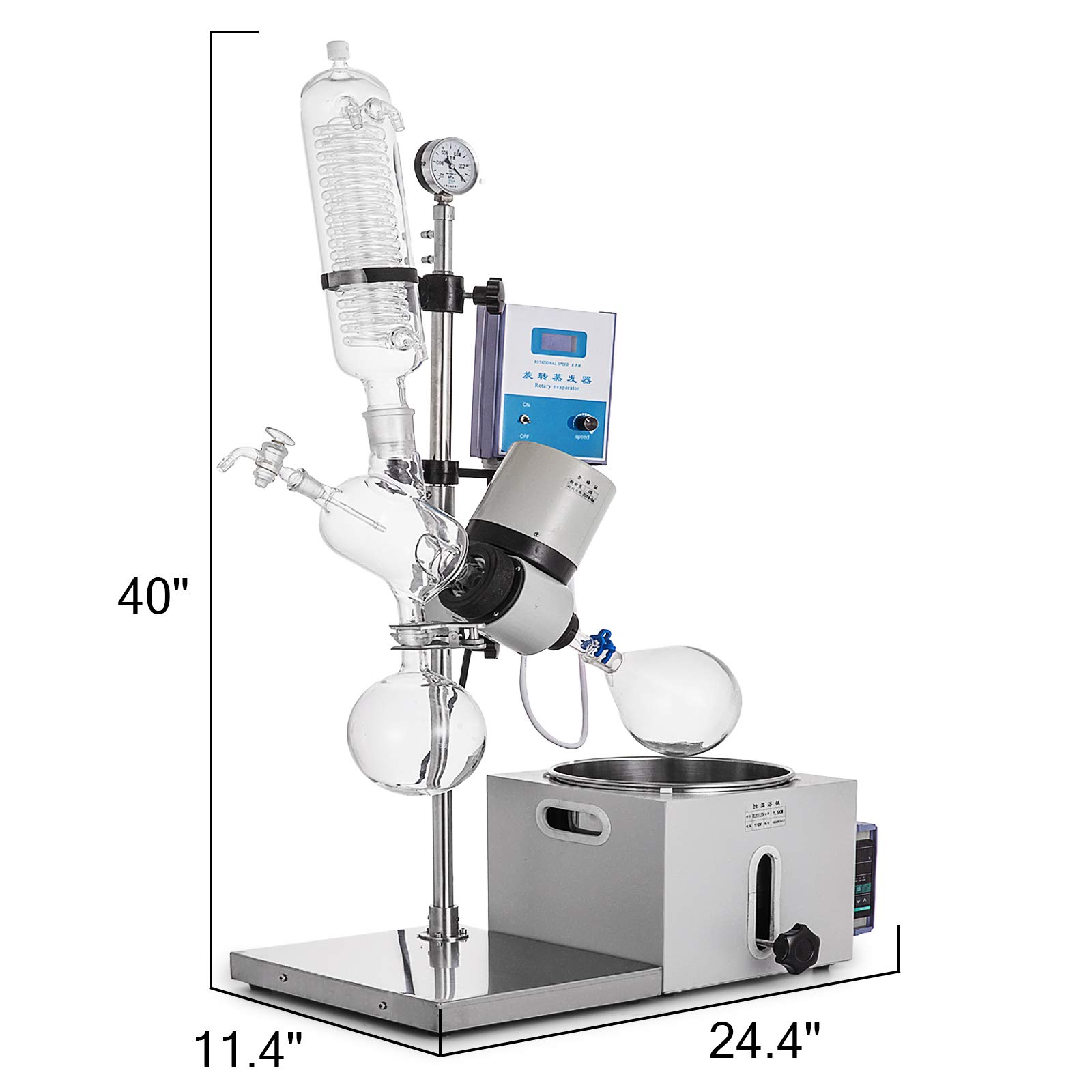 Mophorn 2L Rotary Evaporator R201D Lab Evaporator Rotary Evaporator Manual Lifting Rotavapor with LCD Screen 5-140rpm Professional Rotary Evaporator Set(2L, 5-140rpm) by Mophorn (Image #4)