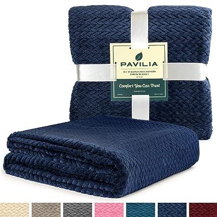 Amazoncom Pavilia Luxury Soft Plush Navy Blue Throw Blanket For