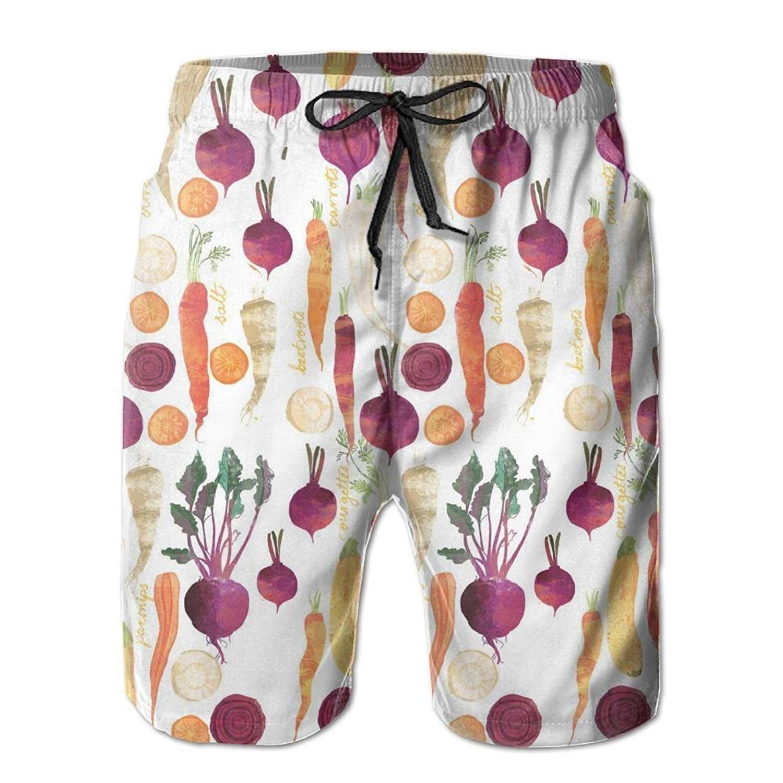 MIGAGA Vegetables Carrots Parsnip Beetroot Mens Summer Casual Swimming Shorts Beach Board Shorts