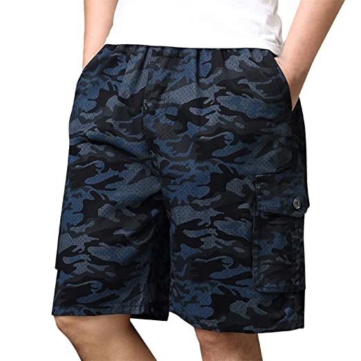 cbf7b8ad1e Image Unavailable. Image not available for. Color: WQS001 Mens Camo Cargo  Shorts, Relaxed Fit Multi-Pocket ...
