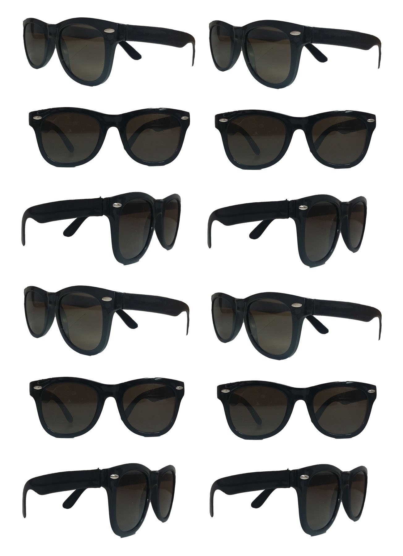 Black Sunglasses Wholesale Party Pack-12 Retro Wayfarer Risky Business-Blues Brothers Black Sunglasses For Graduation-Mardi-Gras-Holidays-Birthdays-Parties-Adults and Kids-New Improved Great Quality by TheGag