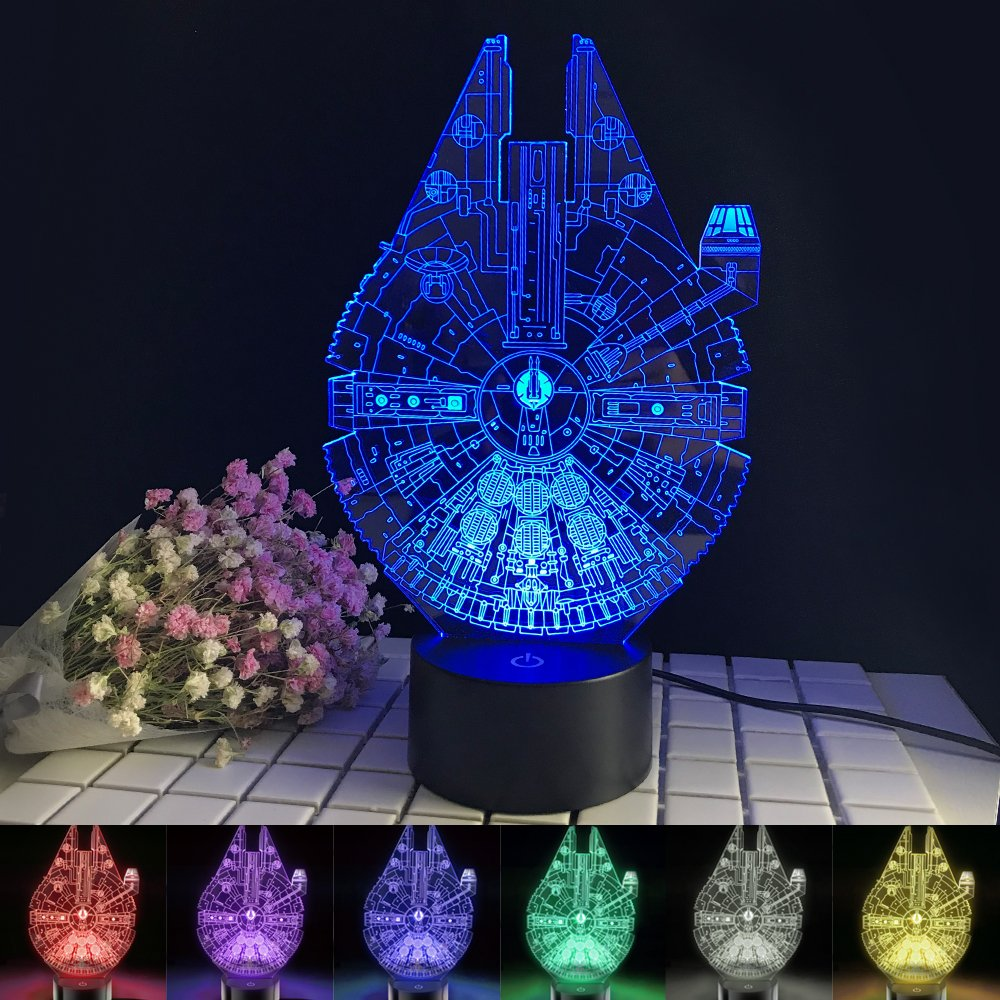 Millennium Falcon Night Light 3D Optical Illusion Desk Lamp 7 Color Changing Table Lamp Birthday Gift for Kids Star Wars Fans