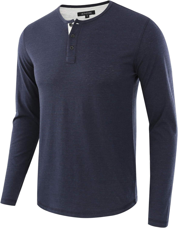 HETHCODE Mens Classic Comfort Soft Regular Fit Long Sleeve Henley T-Shirt Tee