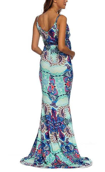 Lanceyy Vestido Premama Largo Mujer Elegante Vestido Verano Vestido Premama Sencillos Especial Fotografie Vestido Sling V Cuello Embarazadas Vestido ...