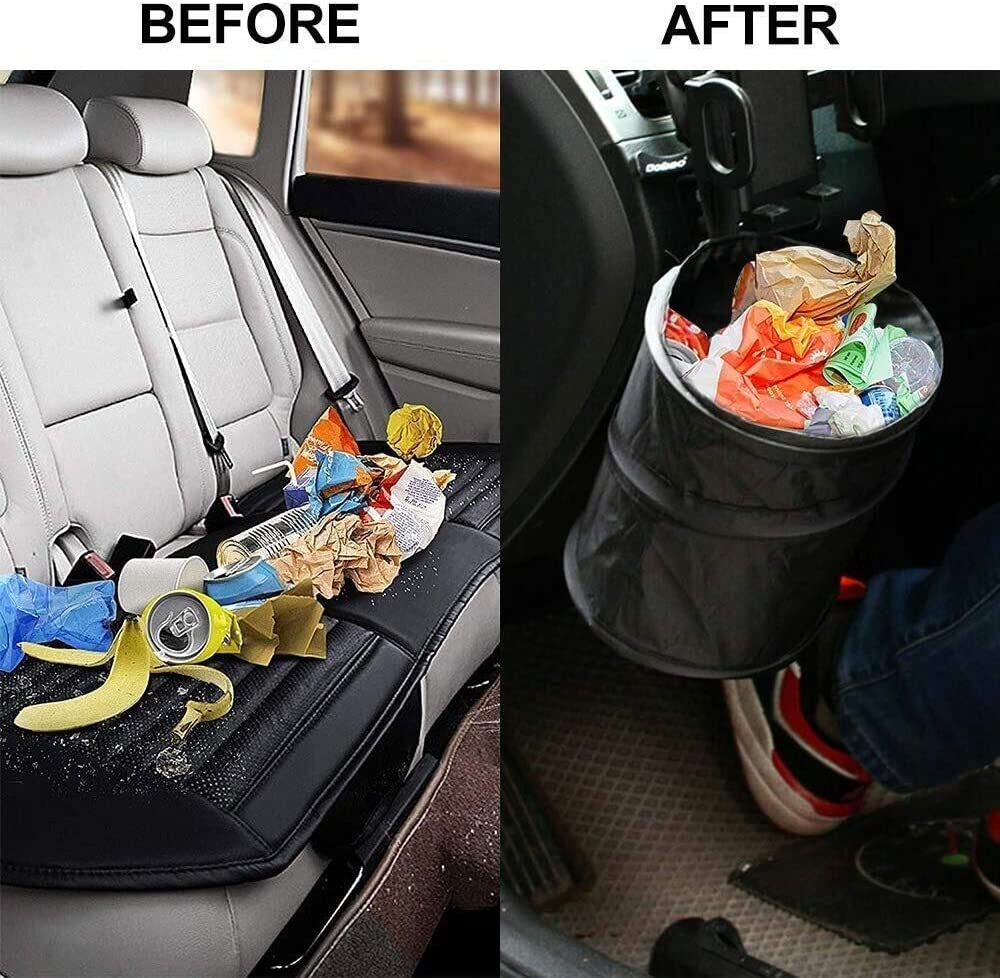 geneic Car Rubbish Bin,Foldable and Waterproof Auto Trash Bag,Automotive Garbage Bag and Organizer,Car Rubbish Bin 6L with Lid and Side,for Car,SUV,Truck,Minivan,Auto