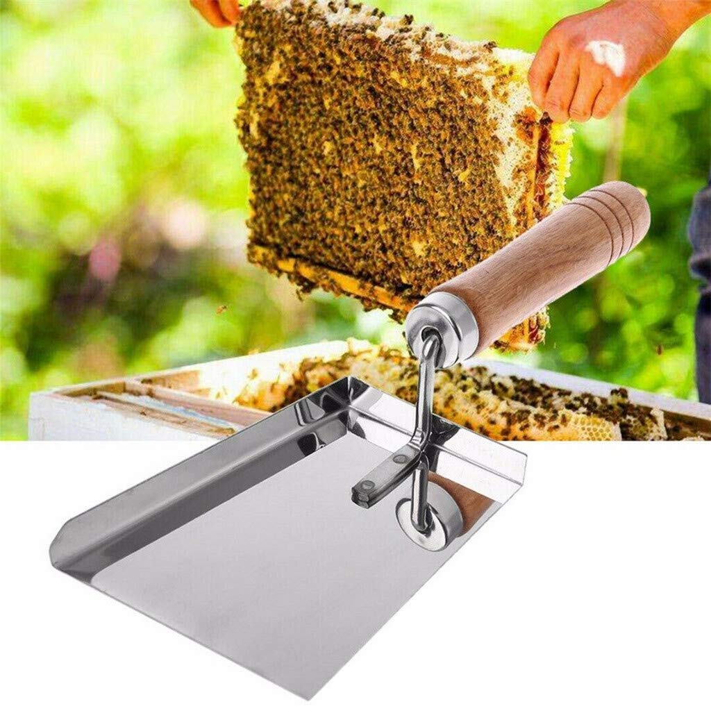 Cleaning Honey Gaddrt Shovel with Wooden Handle Stainless Steel Cleaning Beehive Shovel Beekeeping Clean Tool Scoop Used for Uncapping
