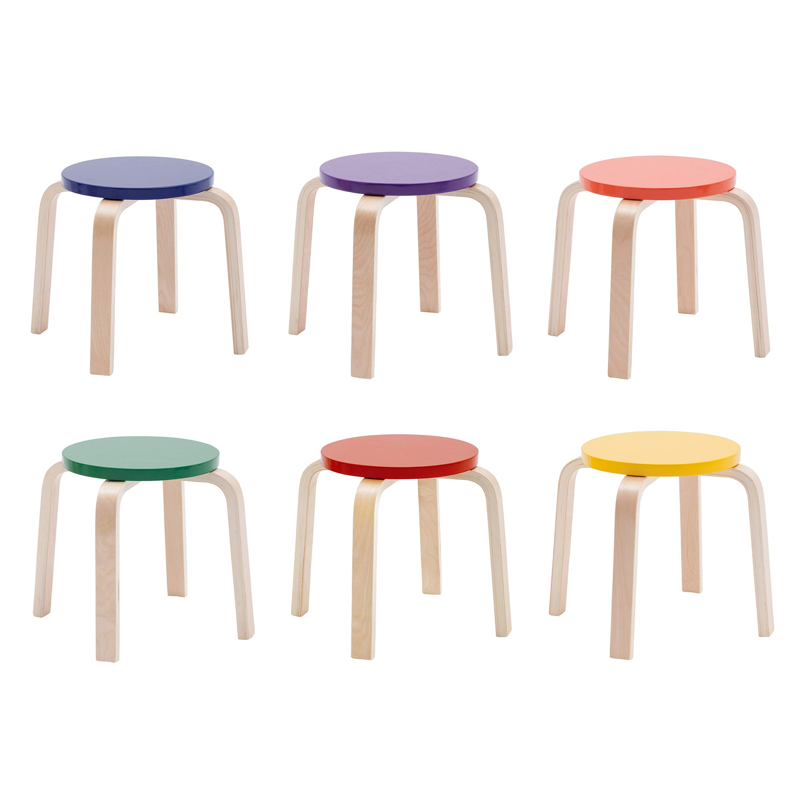 ECR4Kids Bentwood Stacking Stools for Kids, 12'' H, Assorted (6-Piece Set) by ECR4Kids (Image #8)