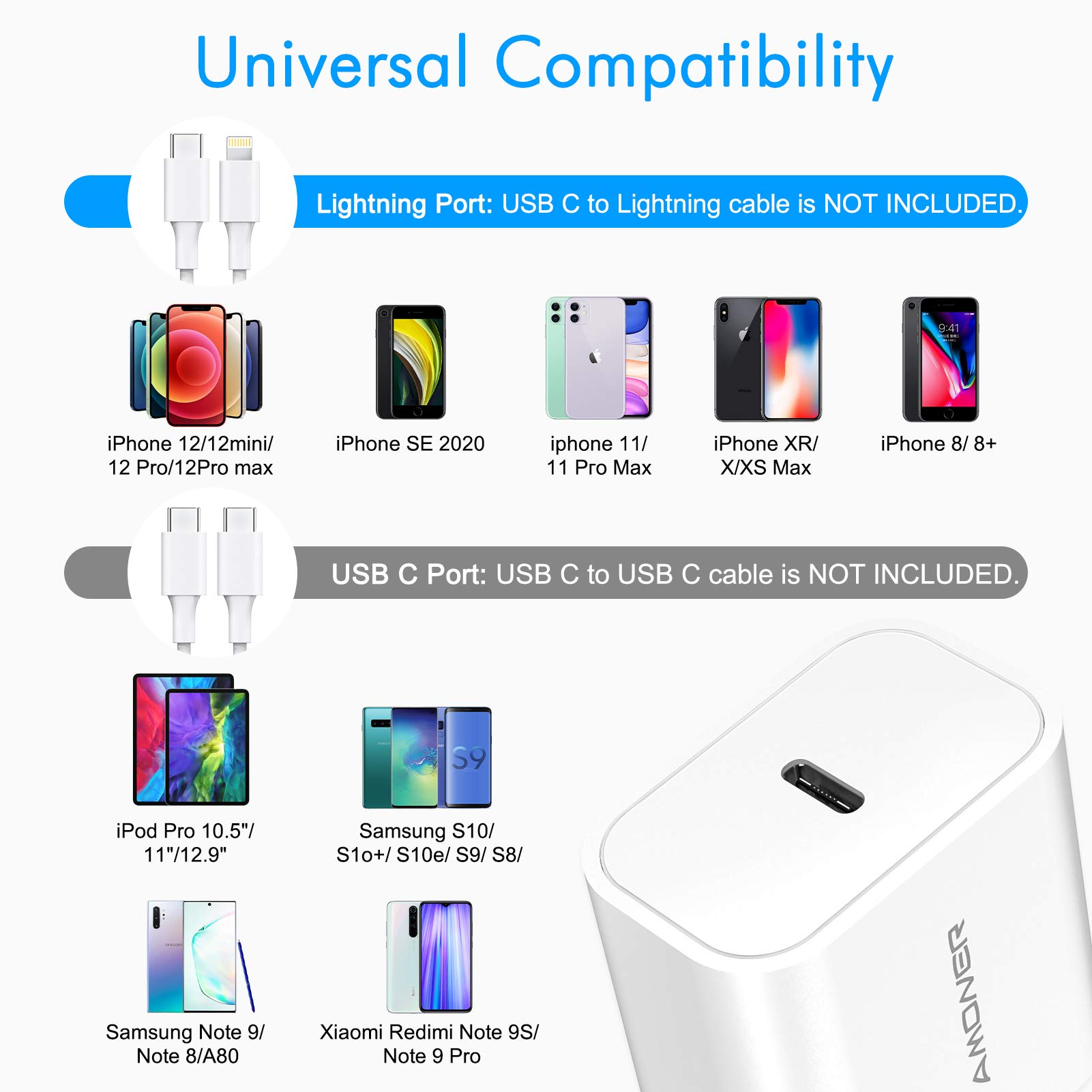 iPhone 12 Charger, Amoner 20W USB C Charger for iPhone 12/12 Mini /12 Pro Max, Power Delivery 3.0 Fast Charger, PD Type C Charger Compatible with iPhone 11, AirPods Pro, Pixel 3 (Cable not Included) White