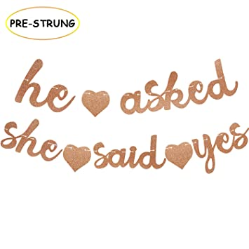 Amazon.com: He Asked She Said Yes Banner Guirnalda de ...