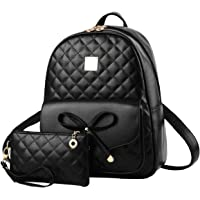 Redlicchi Girls Bowknot 2-PCS Fashion Backpack Cute Mini Leather Backpack Purse for Women