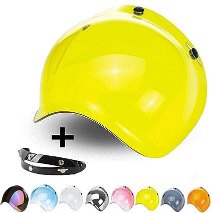 9ff83939 Bubble Visor 3 Snaps Flip-Up Jet Open Face Helmet Custom Adjustable  Mechanism 3 Heights Biltwell Bell Dmd Mt Bandit AFX Nolan Agv Origine  Yellow Gold: ...