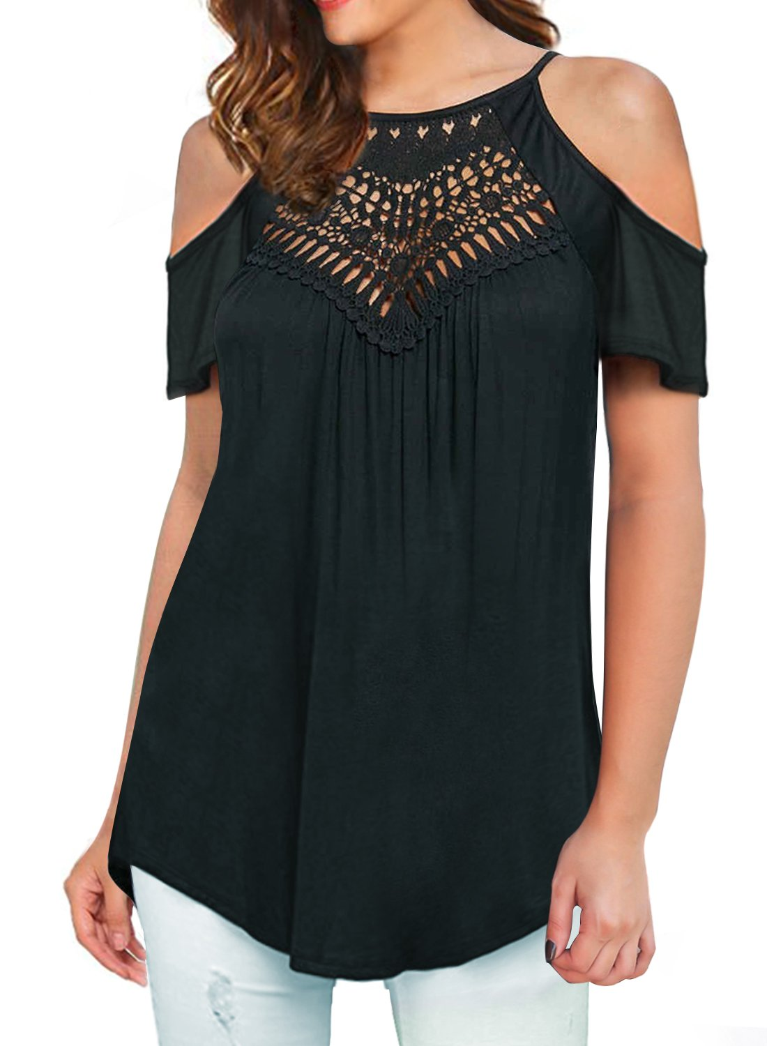 MIHOLL Women's Casual Tops Lace Off Shoulder Short Sleeve Loose Blouse Shirts (XX-Large, A1- Black)