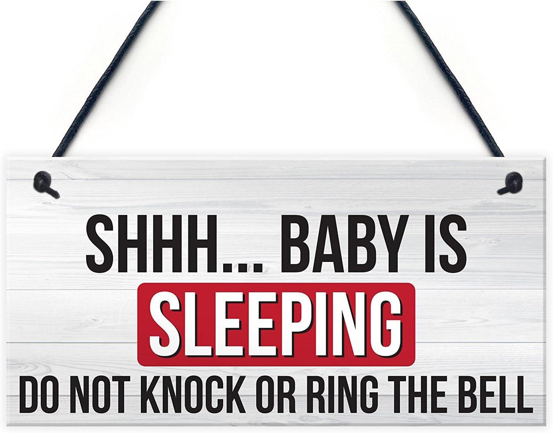 Baby Is Sleeping Do Not Disturb Nursery Hanging Plaque Baby Door Cot Sign SODIAL Shh.