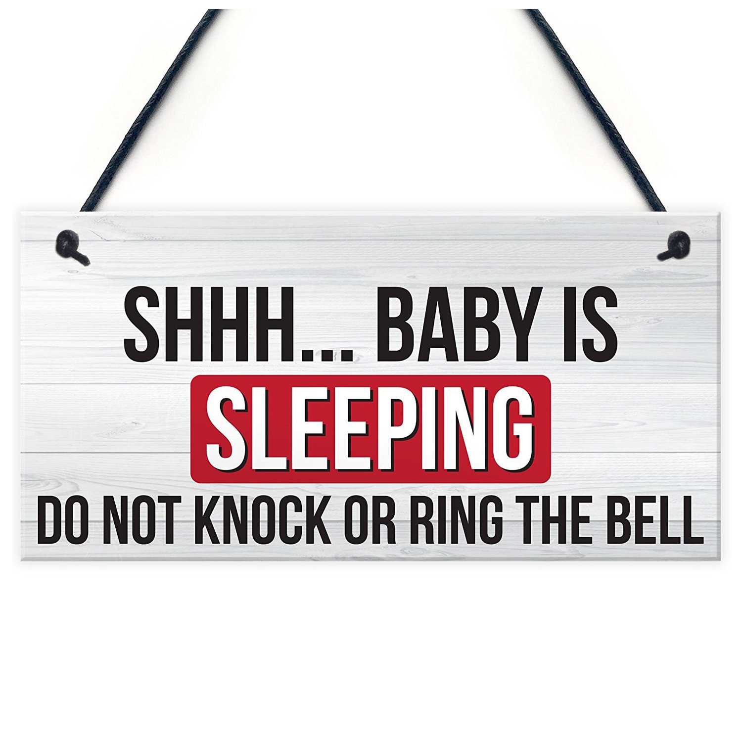 SODIAL Shh.. Baby Is Sleeping Do Not Disturb Nursery Hanging Plaque Baby Door Cot Sign