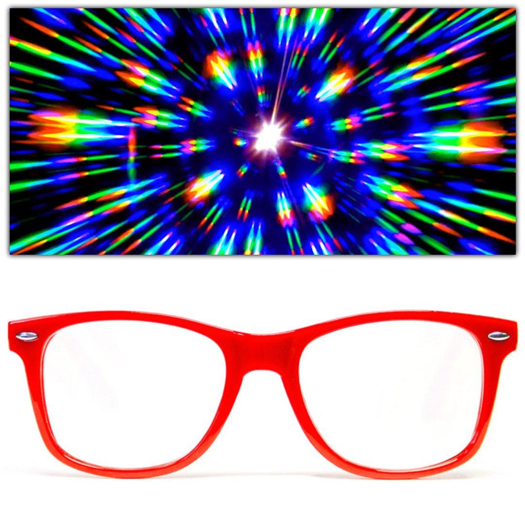 GloFX Ultimate Diffraction Glasses - 3D Prism Effect EDM Rainbow Kaleidoscope Style Rave Sunglasses Black DGUB