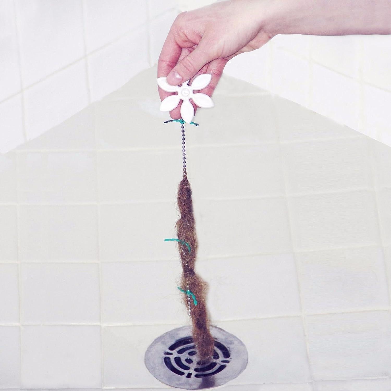 Attrezzo Drainwig per pulire gli scarichi, catena per rimuovere peli, capelli e intasamenti dagli scarichi della doccia e del bagno, resistente, 2pcs bbk01