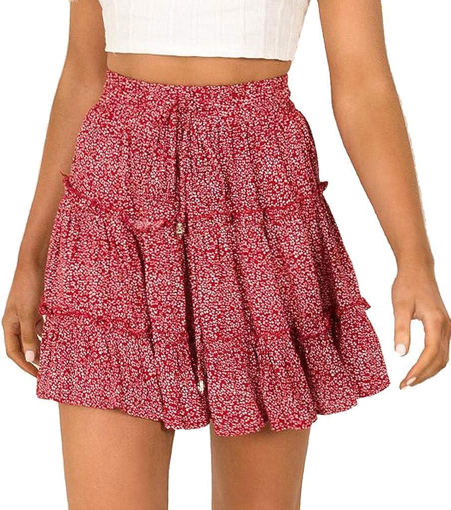 QinMMROPA Mini Falda de Volantes para Mujer, Falda Corta Sexy de Fiesta Minifalda Plisada Noche Tutu Playa Falda Cintura Alta