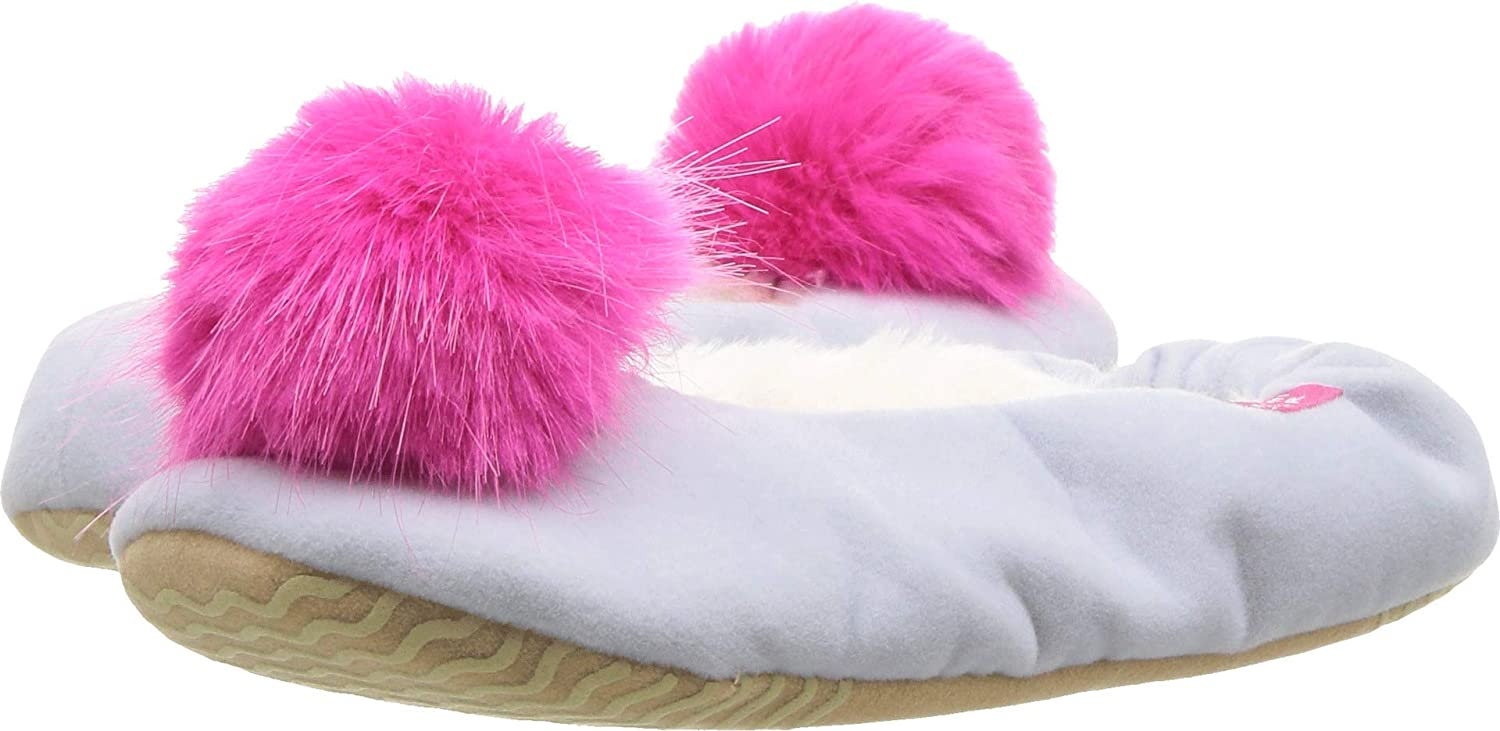 Joules Kids Womens Velvet Ballet Slipper with Pom Pom Toddler//Little Kid