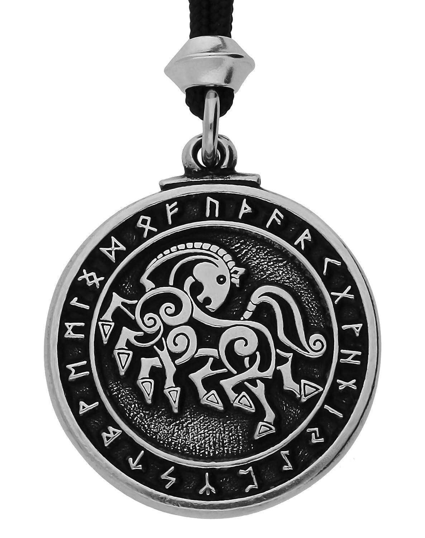 UNYKTOUCH Norse Viking Horse Sleipnir Warrior Pewter Pendant on Black Cord