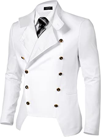 Coofandy Mens Casual Double-Breasted Jacket Slim Fit Blazer
