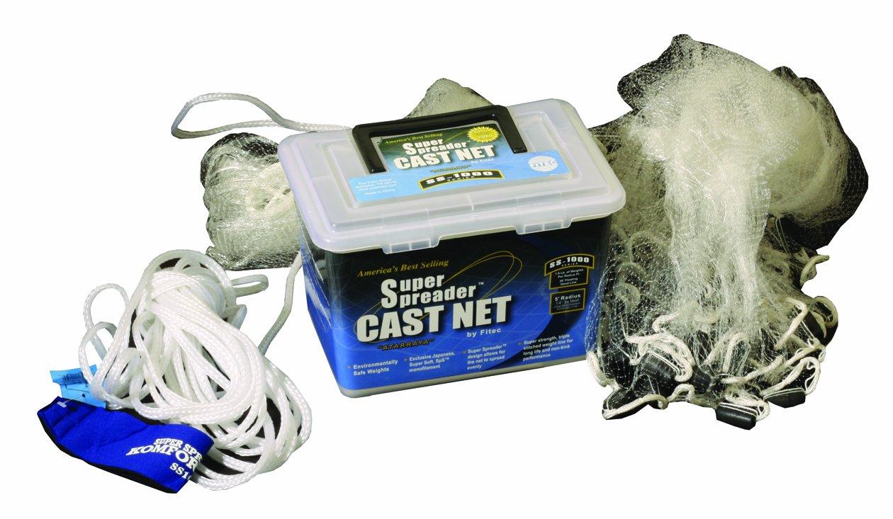 FITEC Super Spreader Clear Fishing Cast Net, 1/2-Inch X 10-Feet