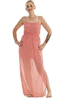 Ex New Look Ladies Party Chiffon Split (Coral Pink/Pale Pink) Summer Maxi