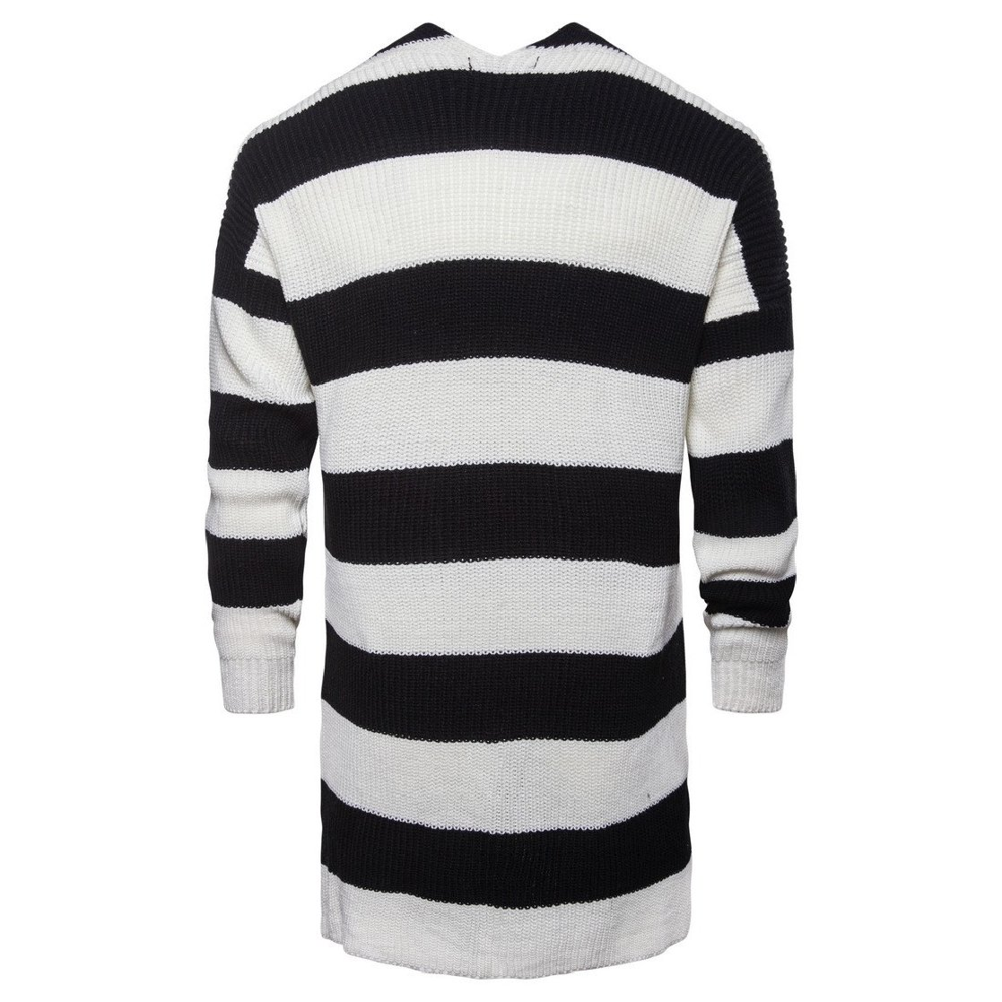 CrazyDayMen Casual Color Conjoin Black and White Stripes Knitting Sweaters