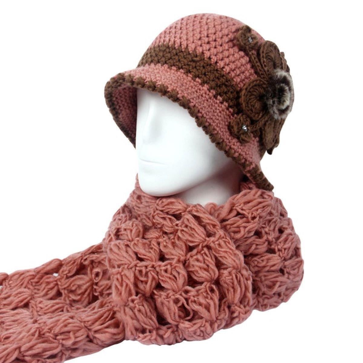 レディース帽子スカーフツーピースセット冬暖かいThickeningアウトドアColdツーピース OneSize ピンク 88899 B078NNF881  ピンク OneSize