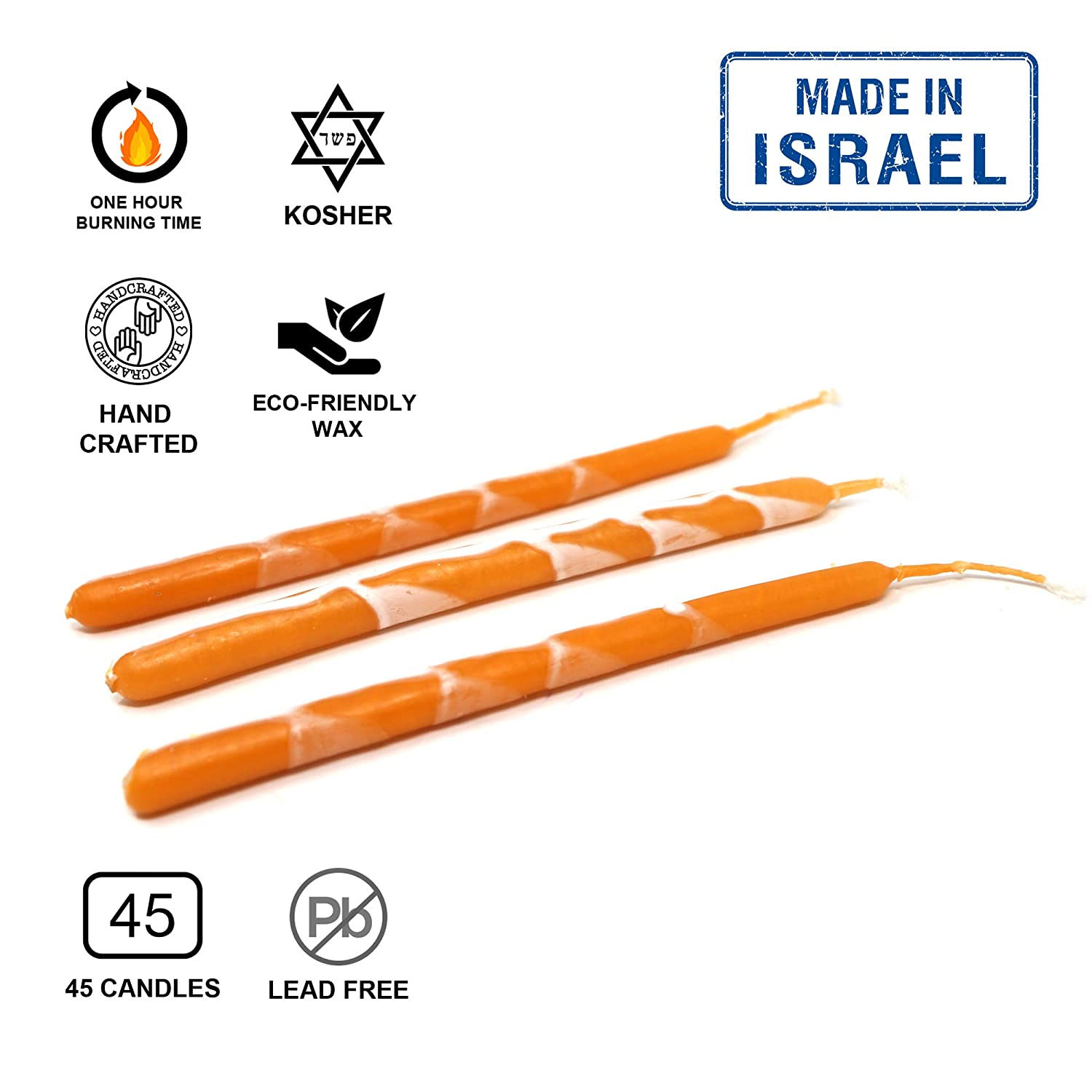 Premium by Safed Candles Fits Most Menorahs Orange Handcrafted in Israel Wax Dripless Kosher Hanukkah Candles Box of 45 for Chanukah