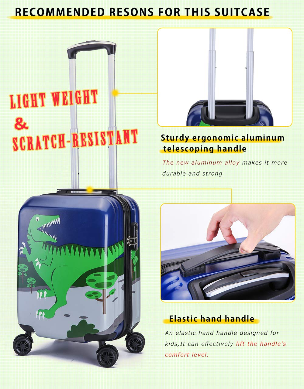 1645c4a9b04b Lttxin Kids' Luggage 19 inch Polycarbonate Carry On Rolling Suitcae Hard  Shell For Boys (Cute Dinosaur-Perfect Printing)