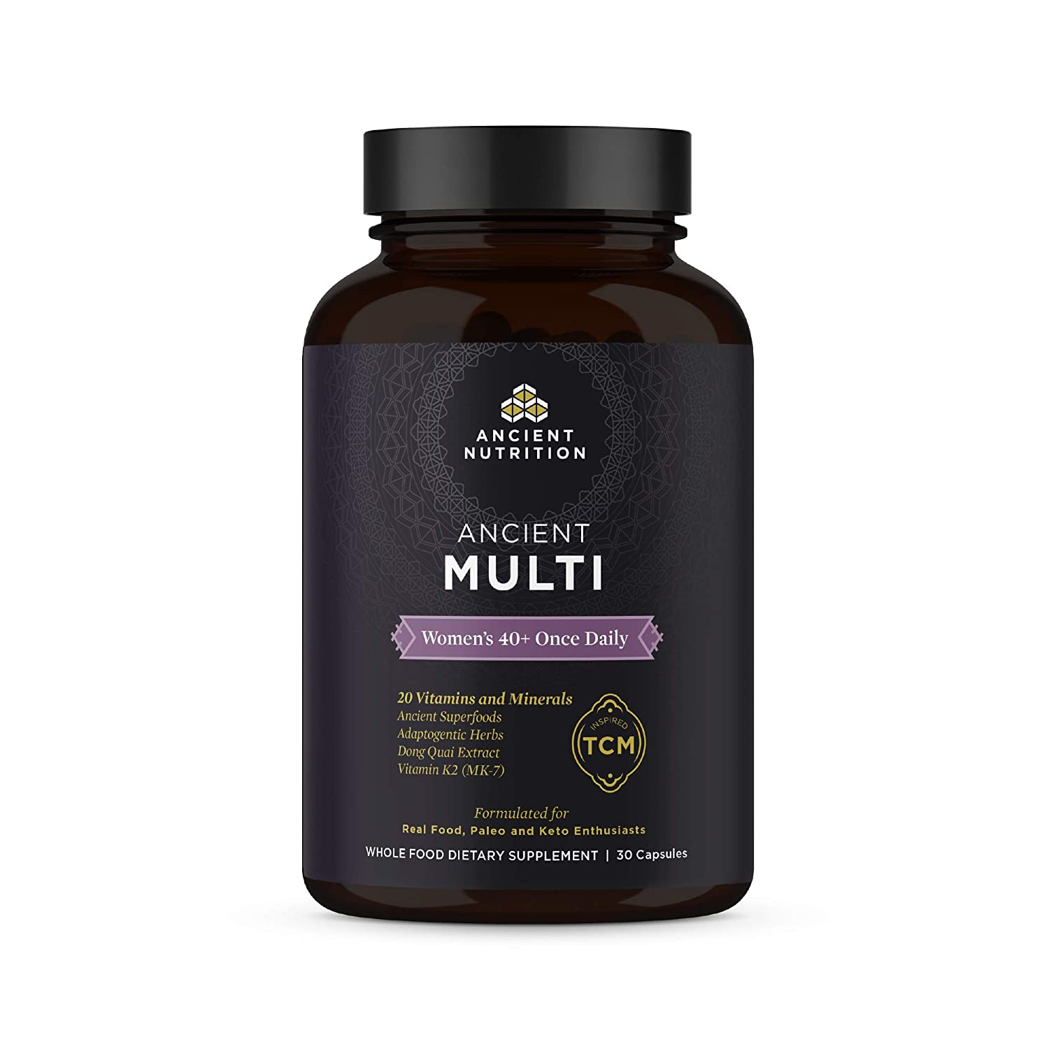 Ancient Nutrition, Ancient Multi Women s 40 Once Daily – 20 Vitamins Minerals, Adaptogenic Herbs, Paleo Keto Friendly, 30 Capsules