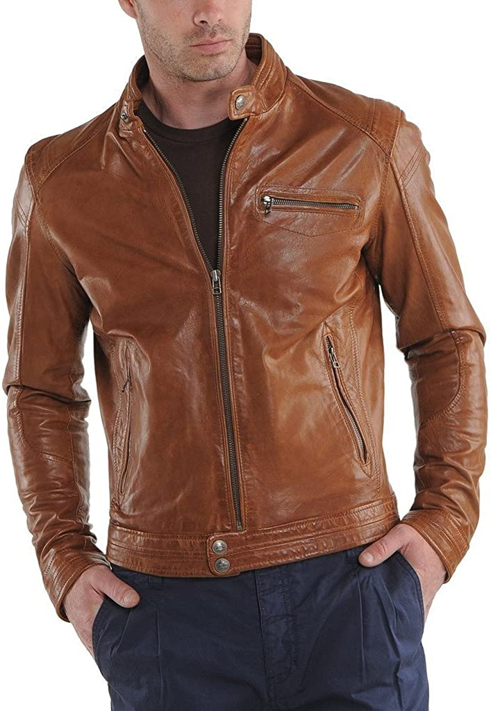Stylish Mens Biker Lambskin Leather Jacket KL898
