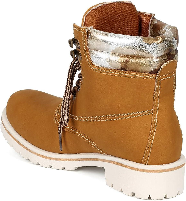 Wheat//Blue Women Leatherette Lace Up Two Tone Lug Boot CG74