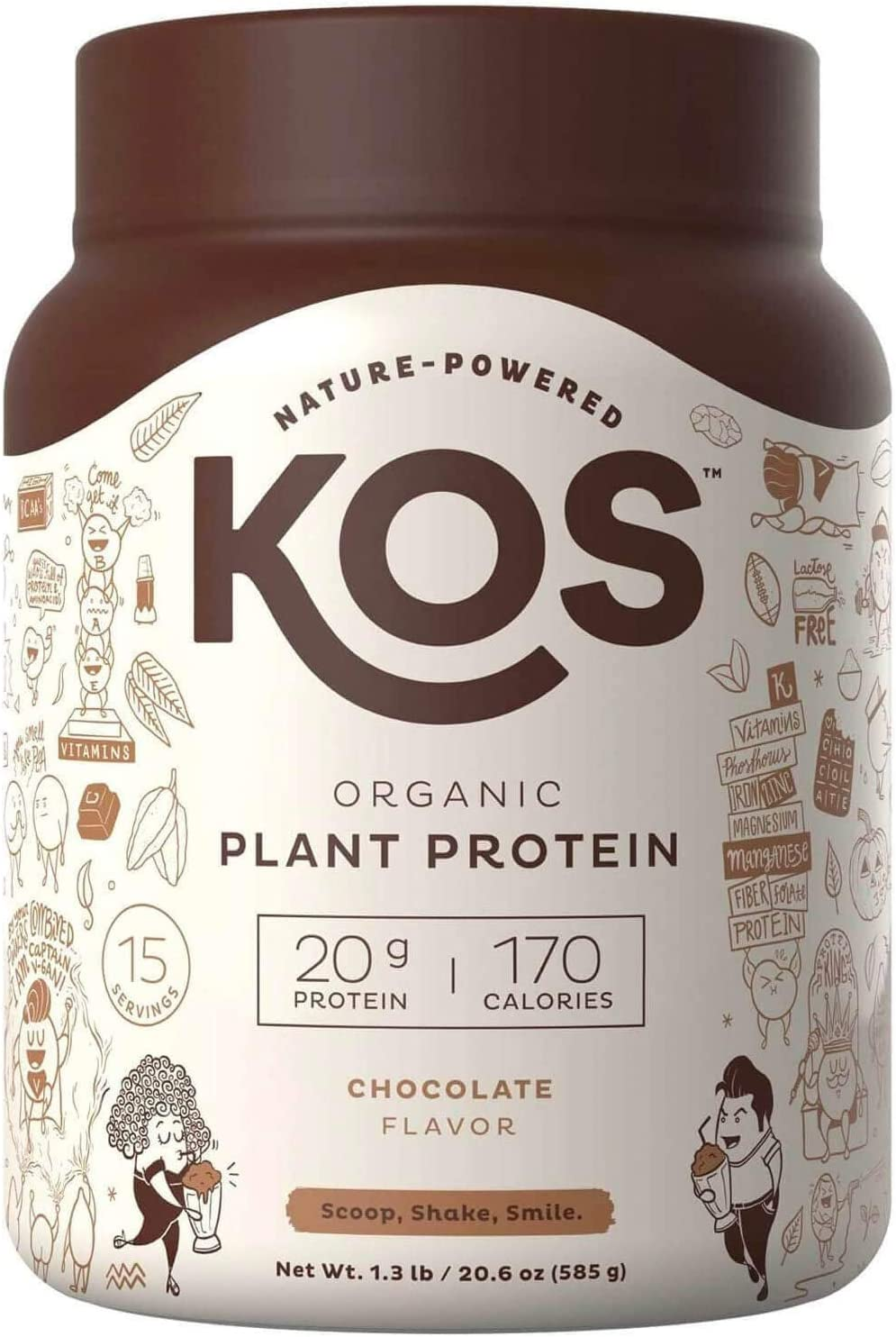 KOS Organic Plant Based Protein Powder – Delicious Chocolate Protein Powder – Gluten, Dairy Soy Free Vegan Protein Powder – Ideal for Meal Replacement Shakes for Weight Loss -1.3 Pounds, 15 Servings