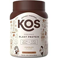 KOS Organic Plant Based Protein Powder - Delicious Chocolate Protein Powder - Gluten, Dairy & Soy Free Vegan Protein Powder - Ideal for Meal Replacement Shakes for Weight Loss -1.3 Pounds, 15 Servings