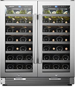 LanboPro Stainless Steel Dual Zone Wine Cooler - Seamless Stainless Steel French Doors 62 Bottle Capacity