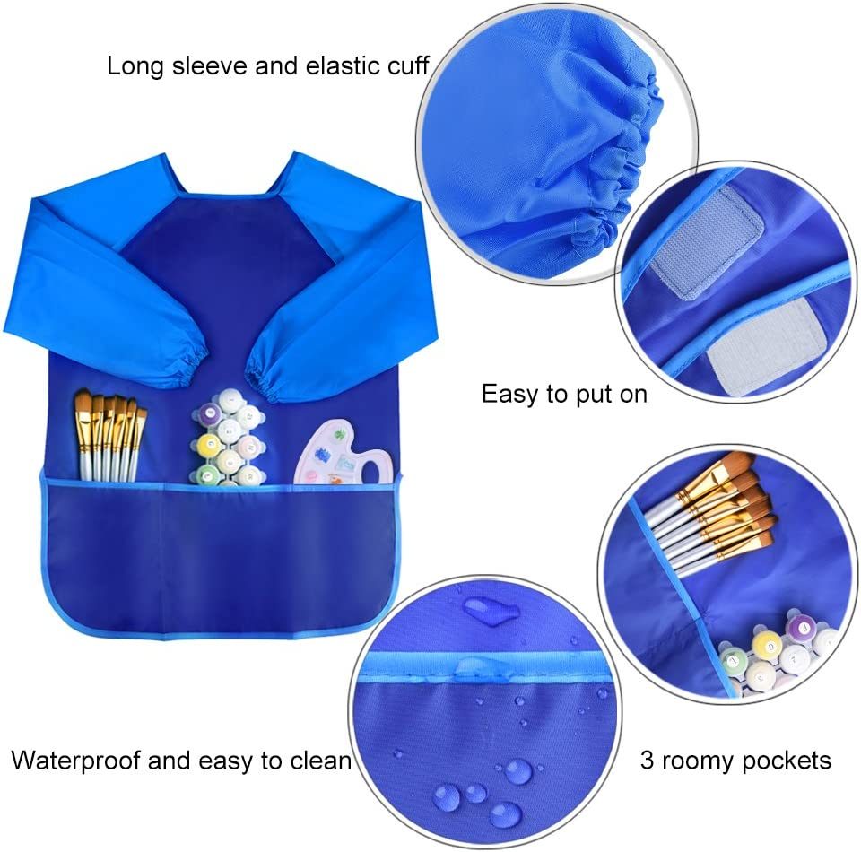Pack of 3 Kids Art Smocks GOMING Children Waterproof Artist Painting Aprons Long Sleeve with 3 Pockets for Age 2-6 Years