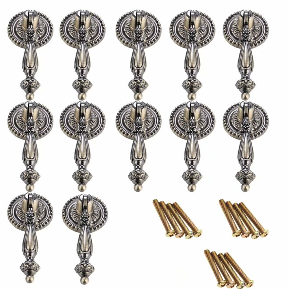 FirstDecor 5PCS Antique Style, European Door Drawer Knob,Zinc Alloy Kitchen Cupboard Pull Handle,Vintage Dresser,Wardrobe Cabinets & Vanity Knobs and Handle-Green Bronze