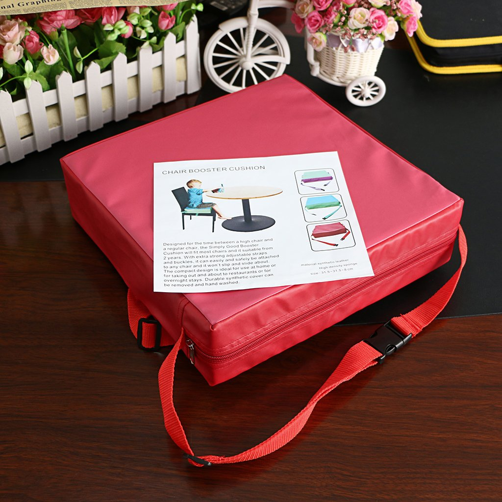 Toddler Booster Seat Cushion Kids Infant Portable Dismountable Adjustable Highchair Booster Cushion Washable Thick Chair Seat Pads Buckle Strap Sumnacon Chair Increasing Cushion Red+Pink