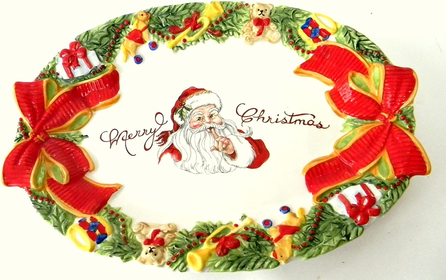Amazon Com Fitz And Floyd Southern Christmas Merry Christmas Classic Santa Cookie Platter 14 Inches Home Kitchen