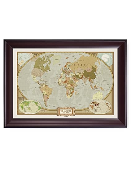 Amazon decorarts classic world map personalized framed artwork decorarts classic world map personalized framed artwork with your family or companys name and date gumiabroncs Gallery