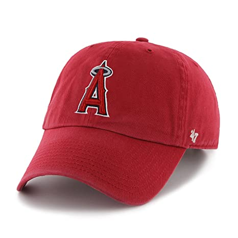 wholesale dealer 9d39e ef577 Image Unavailable. Image not available for. Color   47 MLB Los Angeles  Angels Brand Red Basic Logo Clean Up Home Adjustable Hat