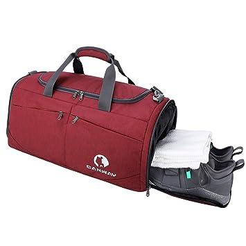 Bolsa de Deporte Hombre Bolsas Gimnasio Mujer de Grande Viaje Impermeable/con Compartimento para Zapatos Bolsos Deportivos Bolsa Fin de Semana Travel Duffle Bag para Hombres 45l Negra