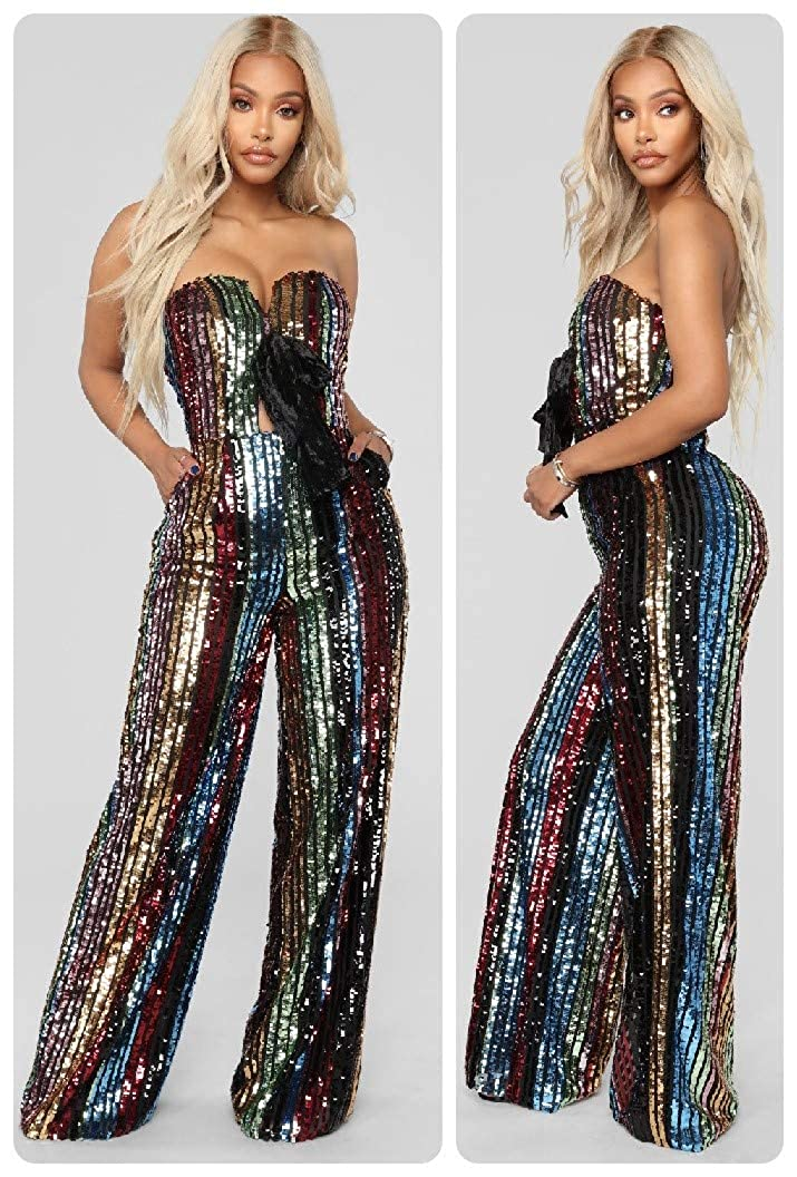 2314bc192752 Amazon.com  L Diva Couture Boutique Women s Sequin Jumpsuit Elegant Multi- Colored Wide Leg Sleeveless Jumpsuit (Medium (6-8))  Clothing