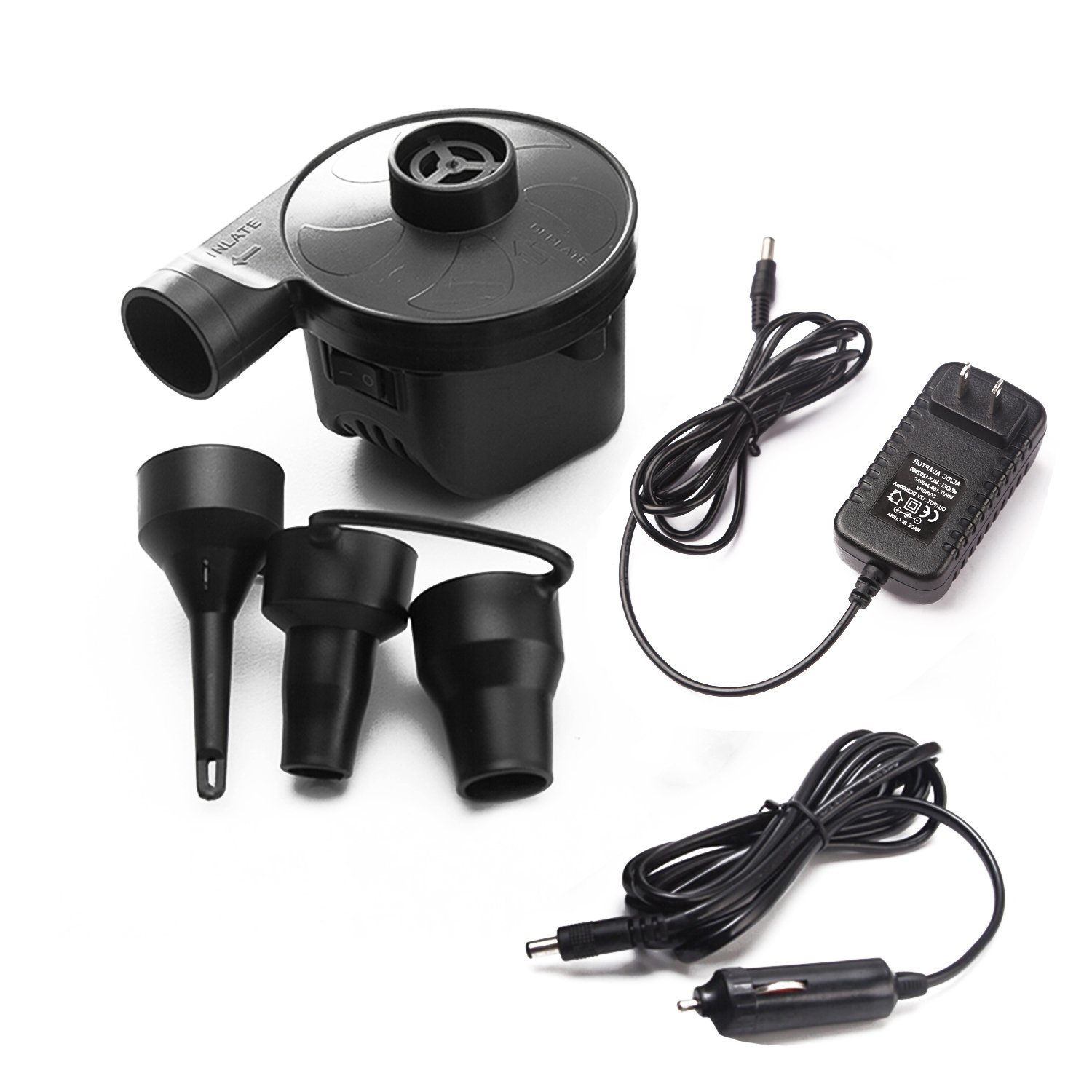 ELE KING Portable Quick-Fill 2 in 1 110V AC/12V DC Camping Travel Pump with 3 Nozzles and 2 Chargers for Air Mattress Raft Bed Boat Pool Toy Float, Black