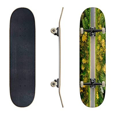 EFTOWEL Skateboards Road in The Autumn Forest Aerial View Asphalt Road Stock Pictures Classic Concave Skateboard Cool Stuff Teen Gifts Longboard Extreme Sports for Beginners and Professionals : Sports & Outdoors
