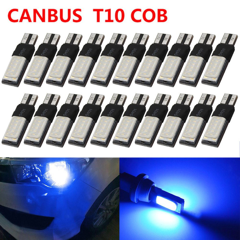 TABEN Extremely Bright Canbus Error Free T10 194 501 W5W SMD COB LED High Power Car Auto Wedge Lights Parking License Plate Bulb Lamp DC 12V (Pack of 4)