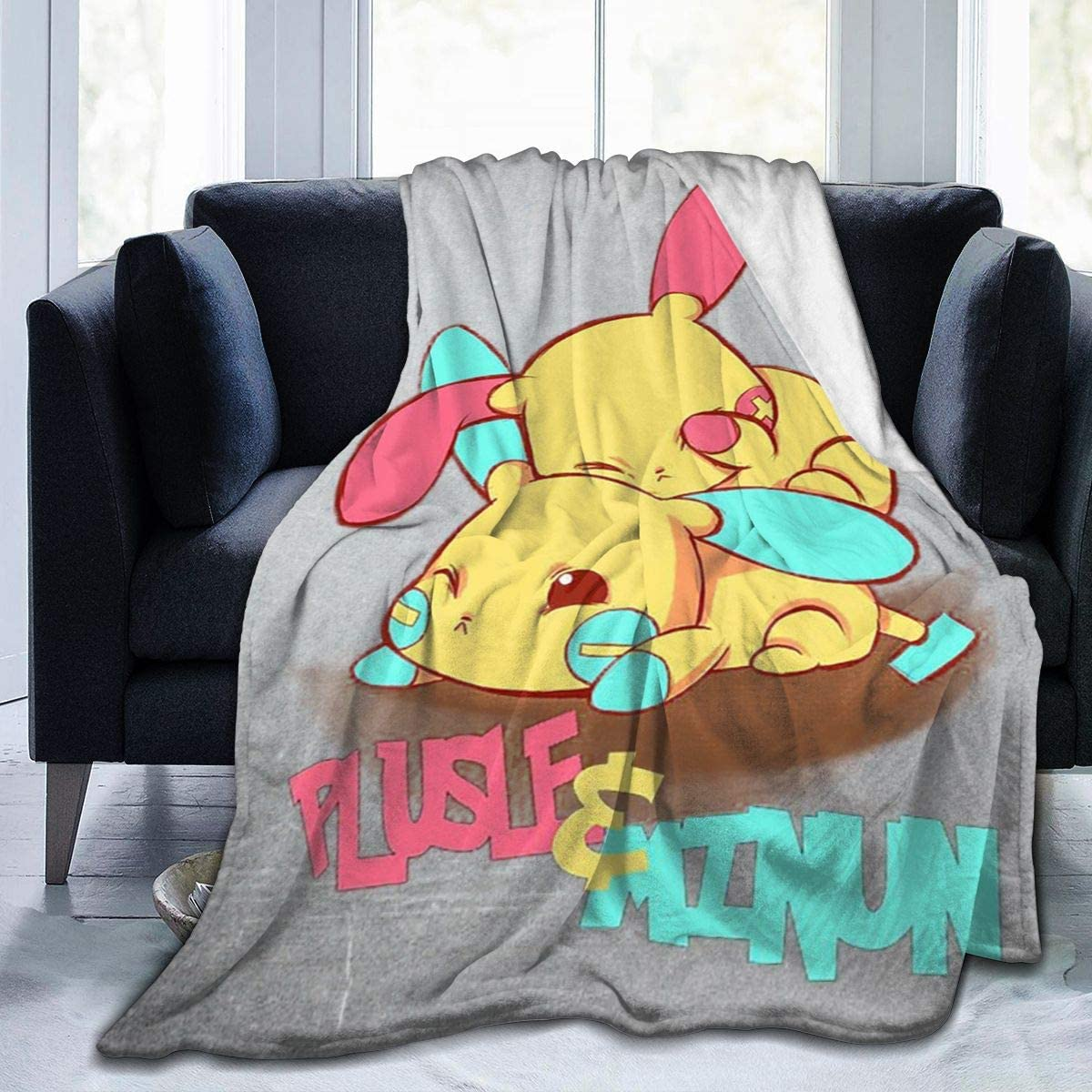 Poke-mon Plusle and Minun Fleece Blanket Ultra-Soft Lightweight All Seasons Fit Bed Couch Chair Office Flight and Outdoors