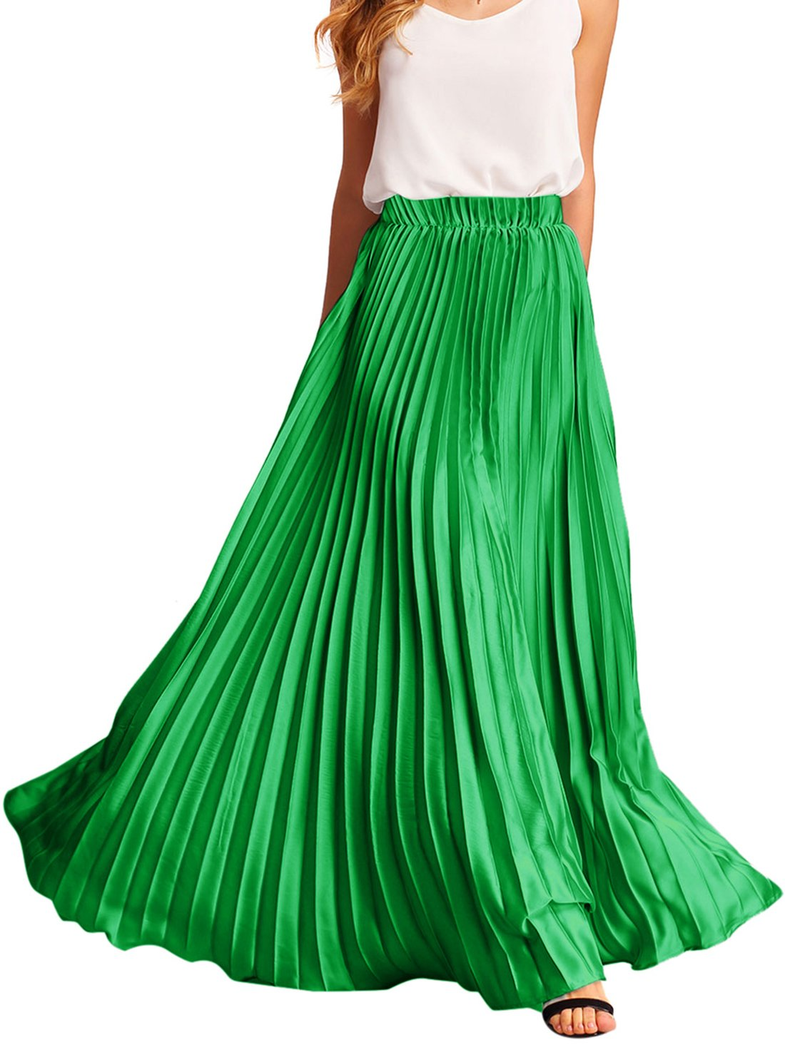 Romwe Women's Retro Vintage Summer Chiffon Pleat Maxi Long Skirt